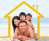 Family on the beach with yellow house illustration