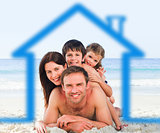 Family on the beach with blue house illustration