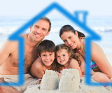 Family on a beach with blue house illustration