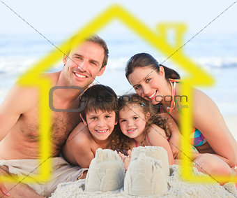 Family on a beach with yellow house illustration