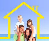 Smiling family posing with a yellow house illustration