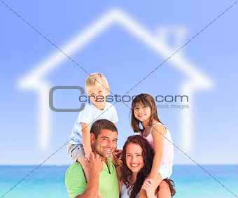 Family posing with a blurred house illustration