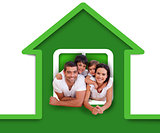 Smiling family in the green house illustration
