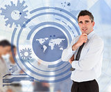 Salesman with a blue world map illustration