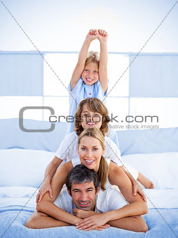 Jolly happy family having fun