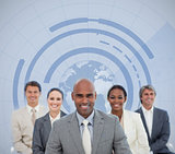 Businessman with his team and globe illustration