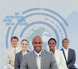 Business team with globe illustration