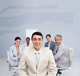 Digital screen showing a business team