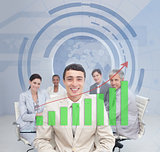 Digital screen showing the green graph to a business team