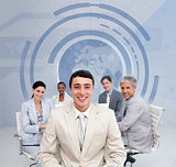 Business team smiling with a blue earth illustration