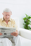 Elderly serious man reading newspapers