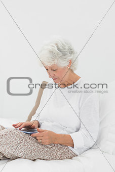 Old woman using a digital tablet