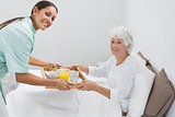 Home nurse giving a breakfast to the old woman