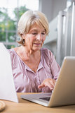 Mature woman touching her laptop