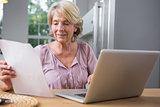 Smiling mature woman using her laptop