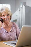 Cheerful woman using her laptop and calling