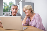 Couple using a laptop together