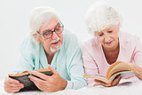 Husband and wife reading and chatting