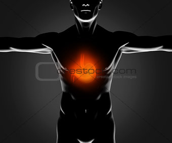 Black figure with highlighted stomach