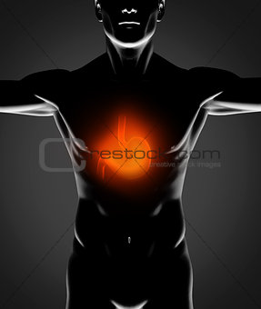 Black human figure with red stomach