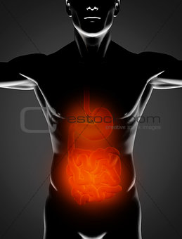 Black man with red stomach and small intestine