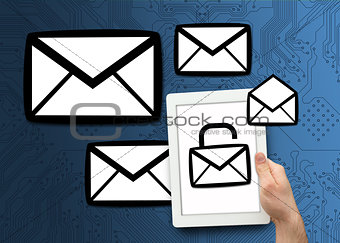Envelope graphics with tablet pc showing lock