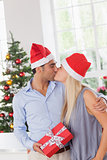 Kissing couple at christmas
