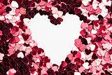 Inverted heart shape in confetti