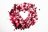 Pink confetti in inverted heart shape