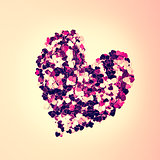 Pink confetti in heart shape