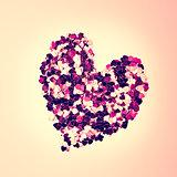 Pink confetti in heart shape