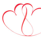 Pink ribbon in heart shapes