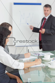 Businessman dictating and his colleagues taking notes