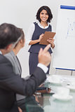 Man posing a question to his businesswoman with clipboard