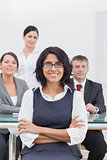 Businesswoman and her team taking a break
