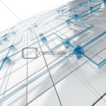 Abstract background from white metal big and blue small cubes connected with tubes