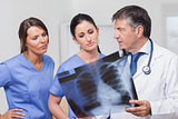 Doctor speaking about xray with nurses