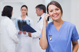 Nurse calling with her team