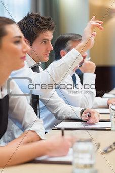 Businessman asking question