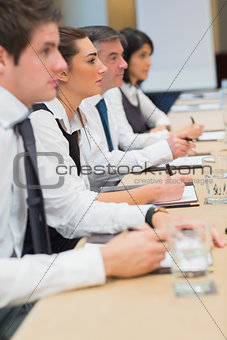 Business people listening