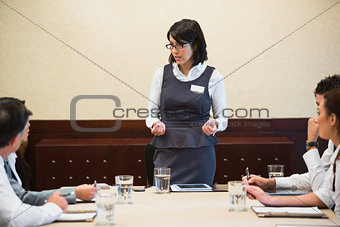 Business woman giving a talk