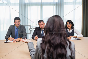 Woman being interviewed for new job