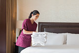 Hotel maid working