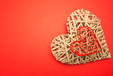 Wicker heart ornament and red heart shaped box