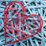 Heart shaped box on blue wicker
