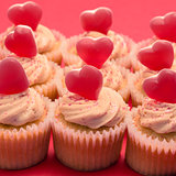 Valentines cupcakes with love hearts