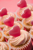 Close up of valentines cupcakes