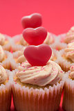 Valentines day pink and white cupcakes
