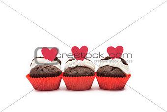 Three chocolate valentines cupcake