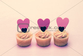 Three cupcakes for valentines day